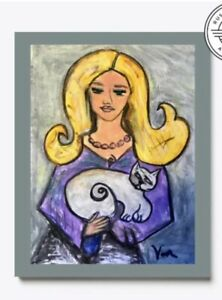 Cat Lady #2 From The Folk Art Cat Collection  Printed On Canvas By Sabrina Van