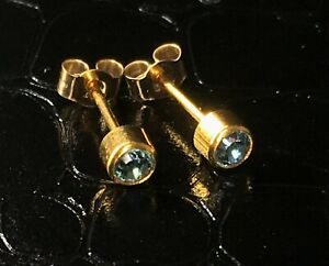 9ct 9 carat 375 yellow gold blue topaz Studex stud earrings for pierced ears