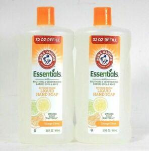 (2) Arm & Hammer Essentials Kitchen Fresh Orange Citrus Liquid Hand Soap 32 Oz