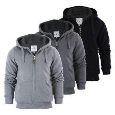 Mens Hoodie Brave Soul Zone Sherpa Fleece Lined Zip Up Hooded Sweater