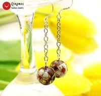 """Trendy 12mm Round Purple Cloisonne White Flower 2""""  Hook Earrings for Women-e698"""