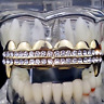 14k Gold Plated Fang Grillz Two Row Top Teeth Vampire Hip Hop Mouth Grills