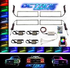 1989-99 Chevy GMC Multi-Color Changing LED RGB Headlight Halo Ring BLUETOOTH Set