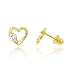 14K Yellow Gold Heart Cubic Zirconia (CZ) Screw Back Stud Earrings