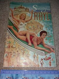 Sunny Rhyl 1950s Vintage Tourist guide booklet 1959 North Wales inc Street Map