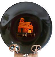 "Mid Century COUROC Farmhouse Barn Farm Scene Brass Wood Inlaid 7.75"" Tray Bowl"
