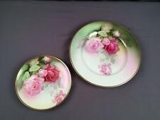 2 AntQ Hand Painted Sevres Bavaria Mentone Cabbage Rose Baltimore Rose Plates