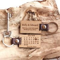 Personalised Wedding 'Save The Date' Oak Calendar Date Keyring, Wedding Gifts