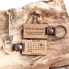 Personalised Wedding 'Save The Date' Oak Calendar Date Keyring, Wedding Gifts