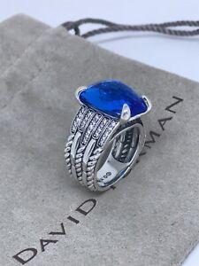 David Yurman Sterling Silver Tides 16x11mm Blue Topaz & Diamond Ring Size7