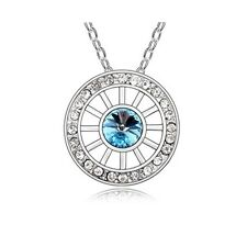 18K Gold GP SWAROVSKI Element Crystal Round Point Pendant Necklace Blue