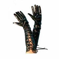 """black gloves pvc look vinyl laces 20"""" fancy dress"""