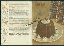Altes Rezept-Faltblatt Reese Rezepte 1953 Zeichnungen Süßspeisen Hameln