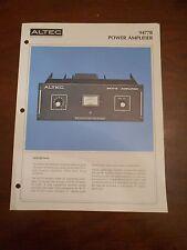 ORIGINAL ALTEC 9477B  POWER AMPLIFIER AMP DEALER SPEC SPECIFICATION SHEET