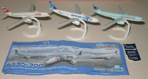 AIRBUS A330-300 COMPLETE SET OF 3 WITH ALL PAPERS KINDER SURPRISE 2011/2012