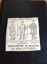 K3-1 Ephemera 1910 Advert Deakin & Sons Canterbury Coats Men Clothes
