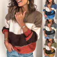 WOMEN COLOR BLOCK SWEATER JUMPER LADIES LONG SLEEVE KNITTED PULLOVER TOP BLING
