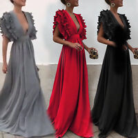 Womens Frill Deep V Neck Maxi Swing Dress Cocktail Evening Party Wedding Prom
