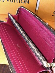 Authentic Louis Vuitton Monogram Canvas Clemence Wallet M60742 Fuchsia