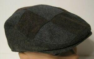 STETSON grey PATCHWORK WOOL BLEND DRIVING Cap Hat xl