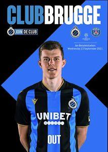 Programme Brugge Belgium v PSG Paris France 2021 Champions League. Fan edition