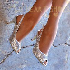 Ladies Diamante Sparkly Mid Heel Silver Slingback Party Peep toe Court Shoe size