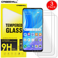 For Huawei Y9s Caseswill Clear HD Tempered Glass Film Screen Protector [3-Pack]
