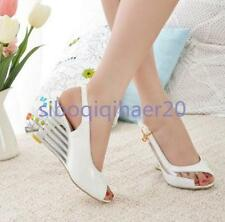 New Chic Ladies Peep Toe Patent Leather Ankle Strap Wedge Heels Sandals Shoes SZ