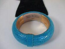 TED ROSSI Turq Textured leather bangle Bracelet NIP $149