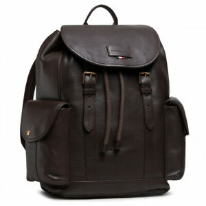 Tommy Hilfiger Mens Casual Leather Flap Backpack Dark Brown pebble leather