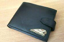 Indian motorcycle wallet genuine leather metal enamel badge clasp license new