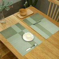 Placemats PVC Anti-skid Heat-resistant Washable Woven Table Mats Green Coasters