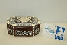 """Inlaid Mother of Pearl Marquetry Small Wooden Octagonal Box 5 1/4"""" long"""