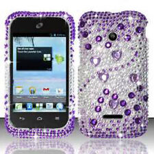 For Huawei Ascend II 2 M865 Crystal Diamond Bling HARD Case Cover Purple Silver
