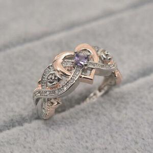 Elegant Two Tone 925 Silver Wedding Ring Women Infinity Amethyst Jewelry Sz 5-11