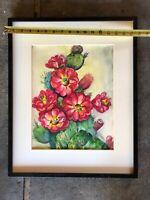 Original Watercolor Cactus Bloom Fine Art Painting Listed Artist Flora D Fisher