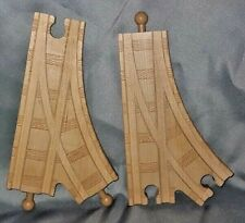 2 Wooden Railway Train Switch Rare Track Piece T-Shaped, works w/ BRIO, Thomas =