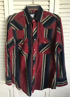 Mens Wrangler Western Shirt M Vintage? Striped Pearl Button Snaps Blue And Red
