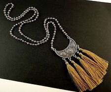 1 Boho Glass Beaded Dangle Necklace with Brown Pendant Tassels # 444