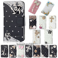 Bling Crystal Diamonds Pearls PU leather flip slots stand wallet case cover #HM