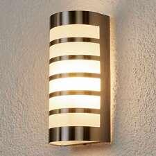 Außenwandleuchte Alvin Edelstahl Wandlampe Lampenwelt Streifen Kunststoff weiß