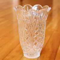 Vintage Pressed Glass Flower Vase Clear Pineapple Design Heavy Glassware 7""