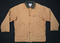 Vintage LL Bean Tan Plaid Lined Canvas Field Barn Chore Hunting Coat Jacket L