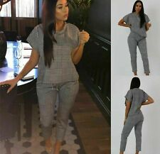 Ladies Check DogTooth Print Boxy Suit Loungewear Tracksuit Women Party Dress