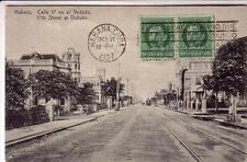 POST CARD HABANA CUBA  CALLE EN EL VEDADO  VIAGG 1927