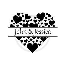 Name & Name Hearts Wedding Love Black Wall Art Vinyl Sticker Decal Black (#188)