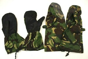 BRITISH ARMY MITTS / GLOVES in DPM WOODLAND CAMO INNERS & OUTER GORETEX