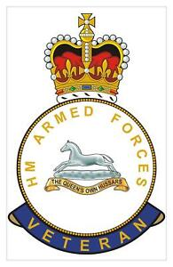 Classic  HM armed Forces The Queens Own Hussars Veterans Sticker