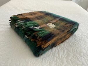 Vintage St Albans Green Brown Tartan Check Fringe Mohair Afghan Throw Blanket