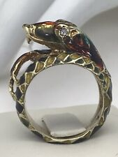 14kt Enamel  Snake  Wraparound Statement Ring